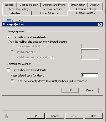 Outlook 2010 mailbox quota not updating