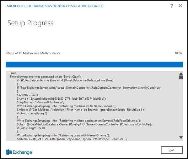 Exchange 2016 CU Upgrade Failure – 'Database is mandatory on