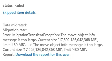The move object info message is too large  Current size